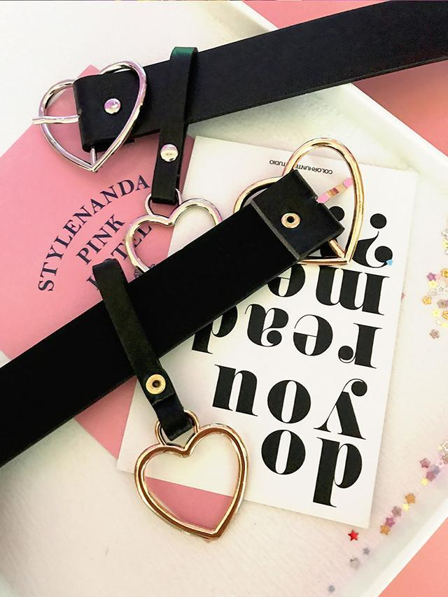 itGirl Shop HEART BUCKLE BLACK PU BELT WITH HEART KEYCHAIN