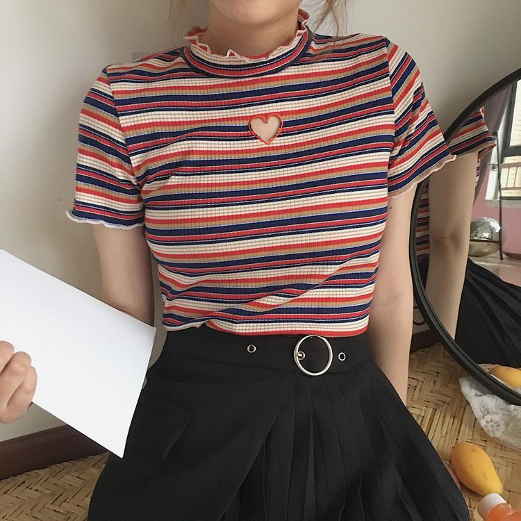 itGirl Shop HEART HOLE STRIPES VINTAGE STYLE CROP TOP Aesthetic Apparel, Tumblr Clothes, Soft Grunge, Pastel goth, Harajuku fashion. Korean and Japan Style looks