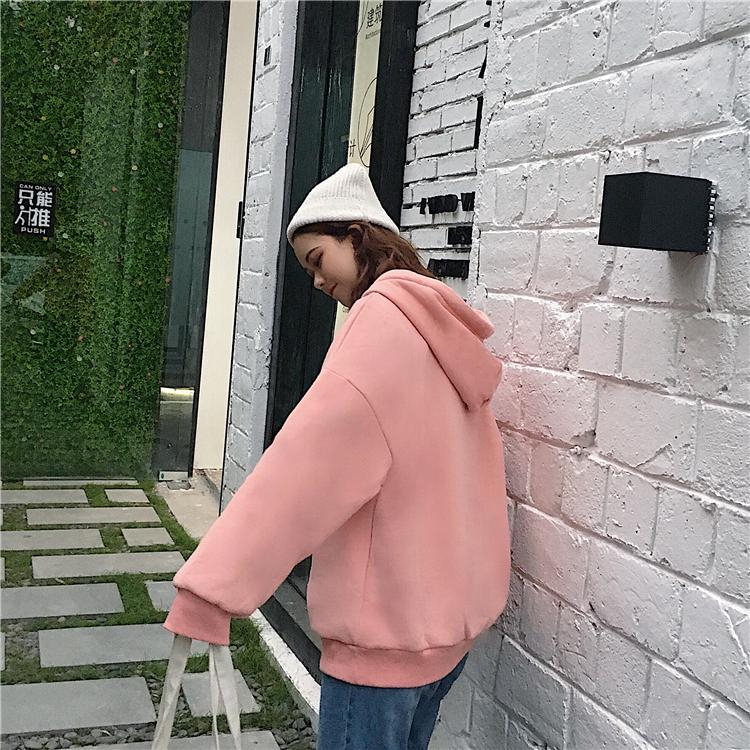 itGirl Shop HEART PRINT PINK COZY WARM HOODIE RIBBON TASSEL