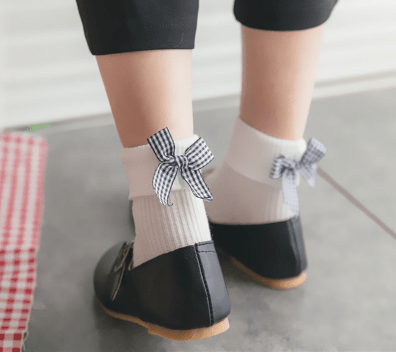 itGirl Shop HEEL BACK PLAID RIBBON BOW POPPY SOCKS