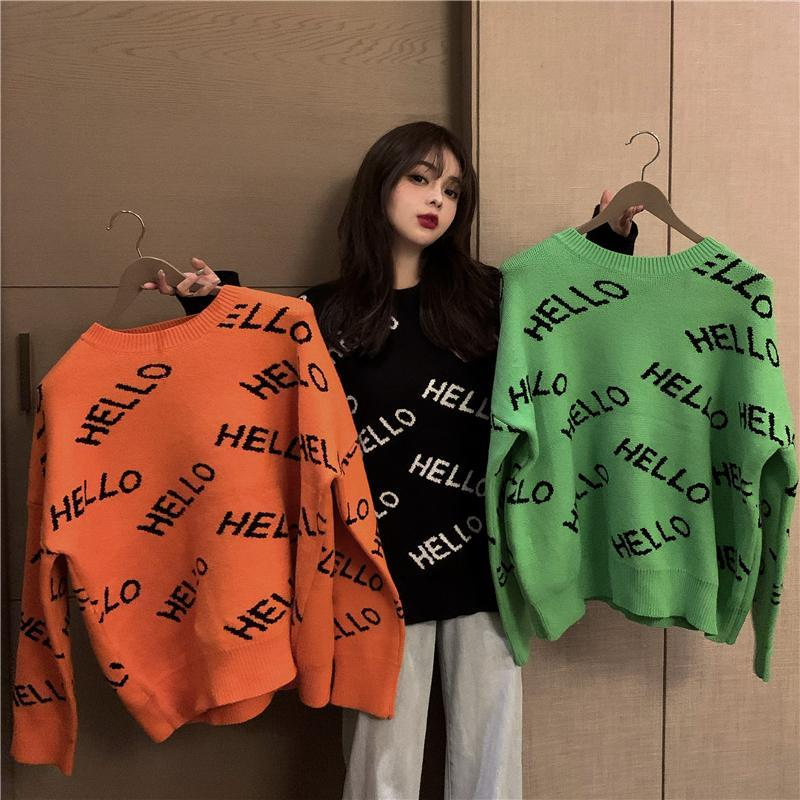 itGirl Shop HELLO LETTER PRINT OVERSIZED KNITTED SWEATER