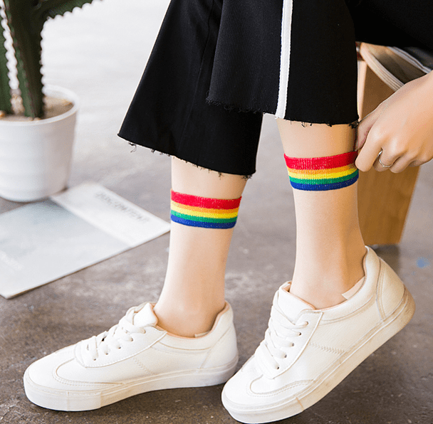 itGirl Shop HIGH ANKLE TRANSPARENT RAINBOW EDGE SOCKS