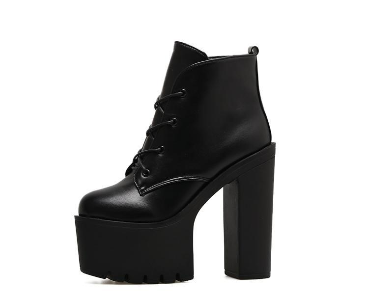 itGirl Shop HIGH BLACK PLATFORM LACEUP GOTHIC WOMEN BOOTS