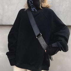 HIGH COLLAR FAKE TWO PIECES KNIT OVERSIZED SWEATER
