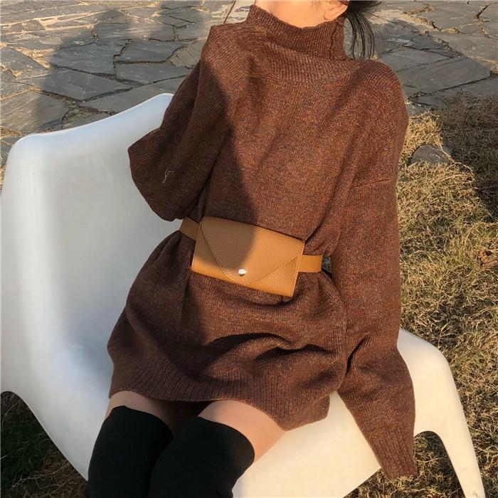 itGirl Shop HIGH COLLAR OVERSIZE KNIT LONG SWEATER