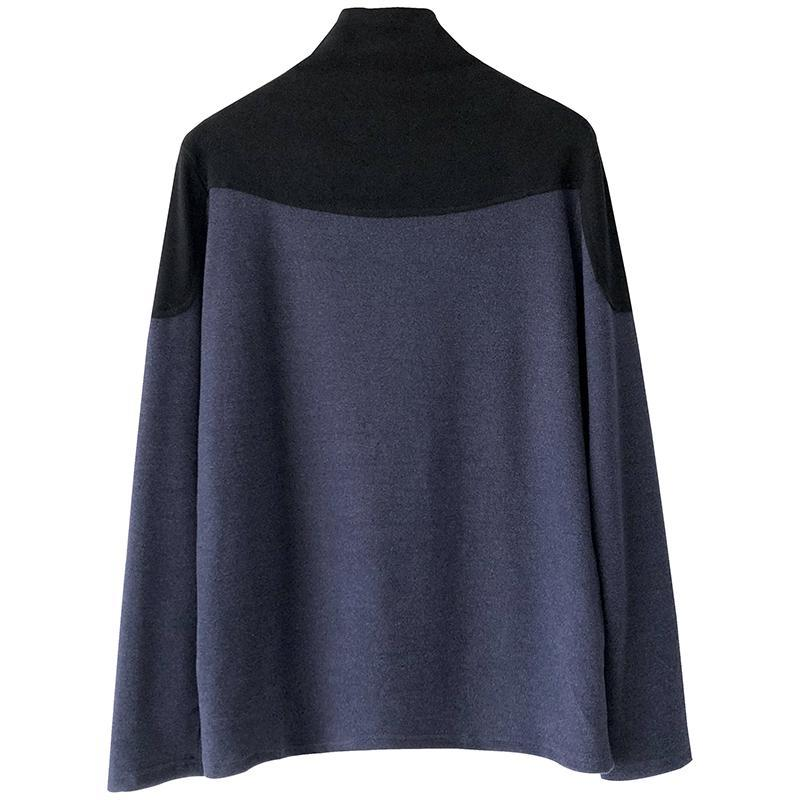 HIGH COLLAR SHOULDERS PADDED LONG SLEEVED SHIRT