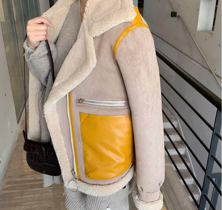 itGirl Shop HIGH COLLAR YELLOW POCKETS OVERSIZED JACKET