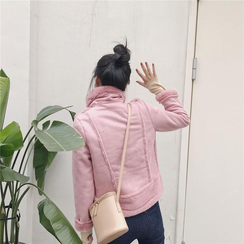 itGirl Shop HIGH NECK FLUFFY FAUX FUR PINK WHITE BELTS ZIPPER OUTWEAR JACKET