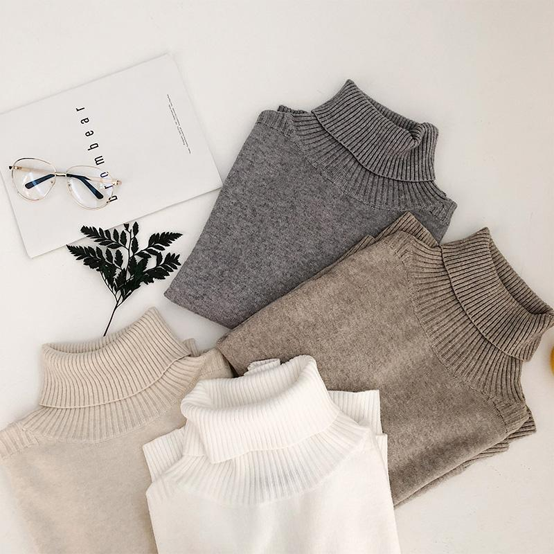 itGirl Shop HIGH NECK LONG RIBBED KNIT SWEATER