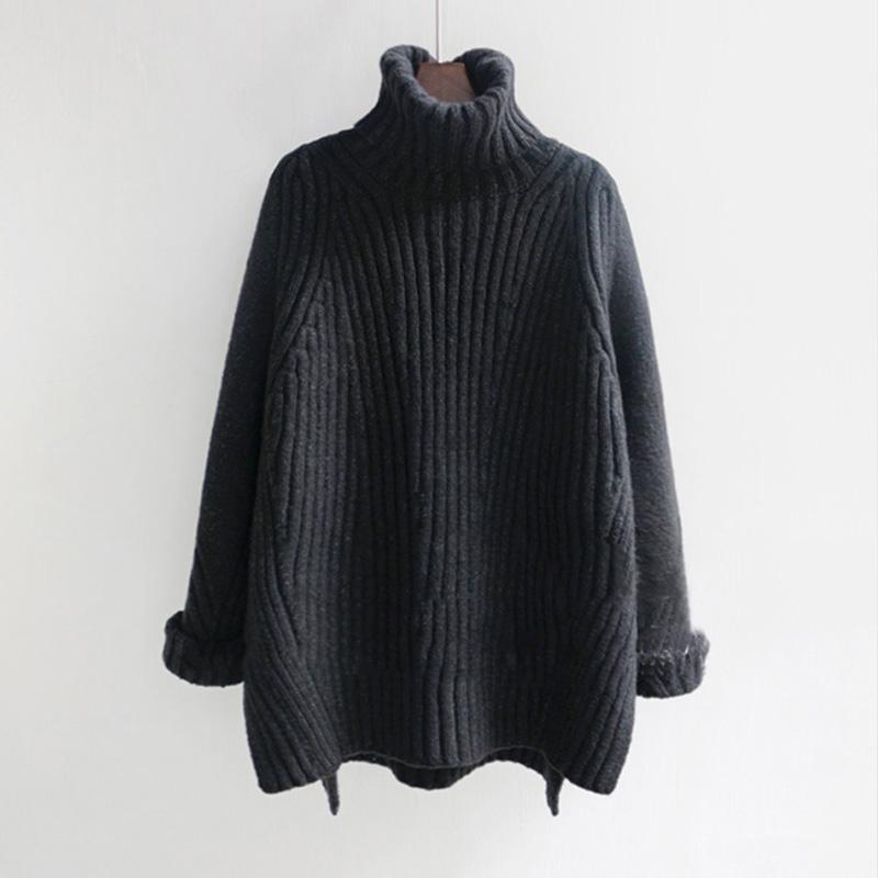 HIGH NECK LOOSE HUGE KNIT SWEATER