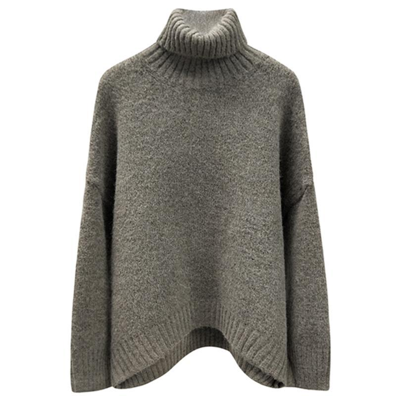 itGirl Shop HIGH NECK RIBBED OVERSIZE GRAY BROWN WOOL SWEATER