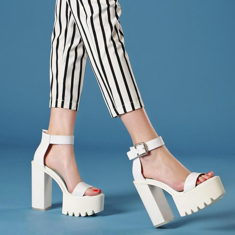 itGirl Shop HIGH PLATFORM WHITE ANKLE SANDALS Aesthetic Apparel, Tumblr Clothes, Soft Grunge, Pastel goth, Harajuku fashion. Korean and Japan Style looks