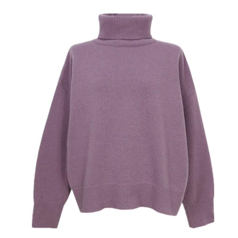 itGirl Shop HIGH TURTLE NECK THIN KNIT WARM COZY AUTUMN SWEATER