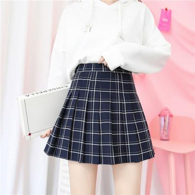 HIGH WAIST COLORFUL PLAID WITH SHORTS SCHOOL SKIRT