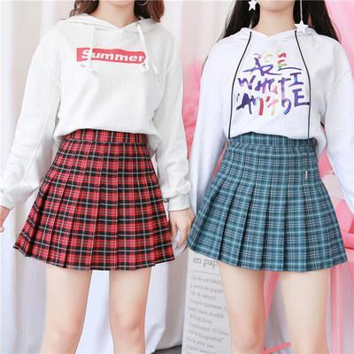 itGirl Shop HIGH WAIST COLORFUL PLAID WITH SHORTS SCHOOL SKIRT