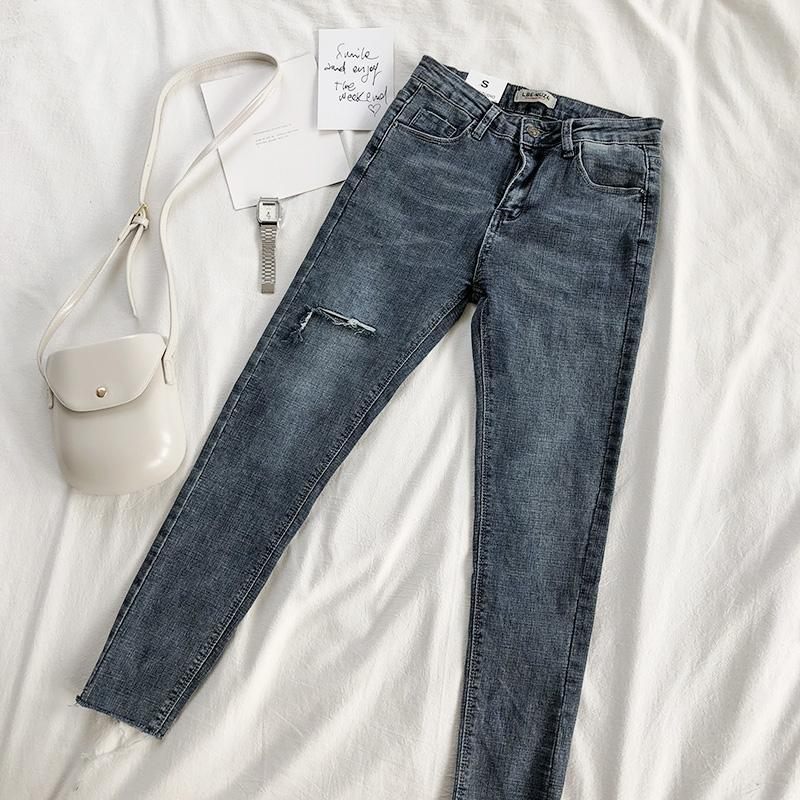 itGirl Shop HIGH WAIST KNEE RIPPED HOLES DENIM WASHED JEANS