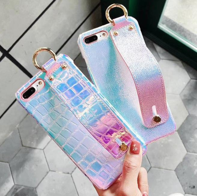 itGirl Shop HOLOGRAPHIC BACK BAND LEATHER COVER CASE