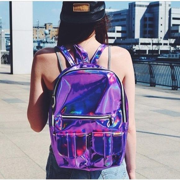 itGirl Shop HOLOGRAPHIC LASER BACKPACK Aesthetic Apparel, Tumblr Clothes, Soft Grunge, Pastel goth, Harajuku fashion. Korean and Japan Style looks