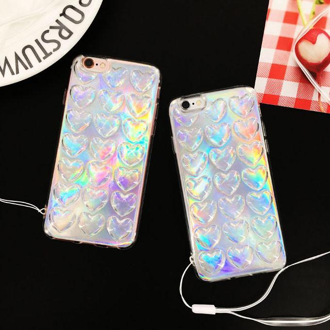 itGirl Shop HOLOGRAPHIC LAYER TRANSPARENT HEARTS CASE