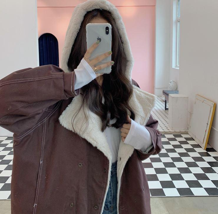 HOOD PLUSH FAUX FUR WARM WINTER COAT JACKET
