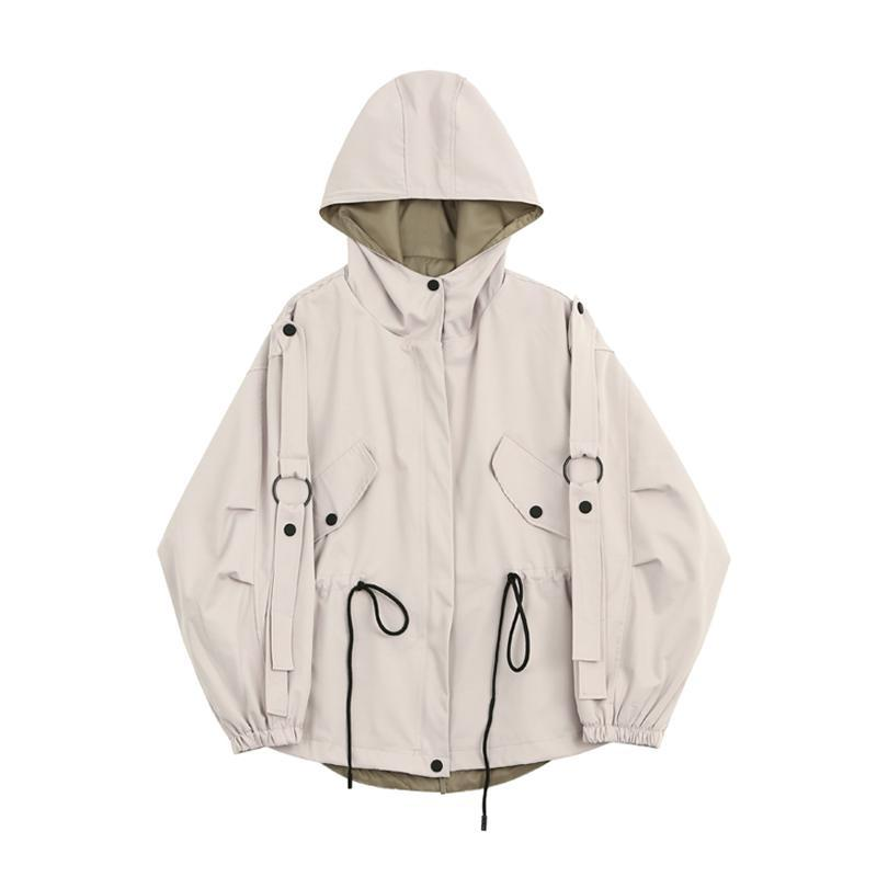 itGirl Shop HOODED WINDBREAKER CASUAL BEIGE DRAWSTRING WAIST JACKET