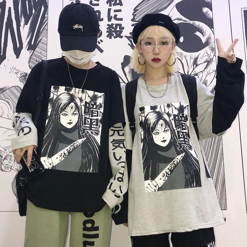 itGirl Shop HORROR COMIC PRINTED FAKE TWO PIECES STITCHING T-SHIRT