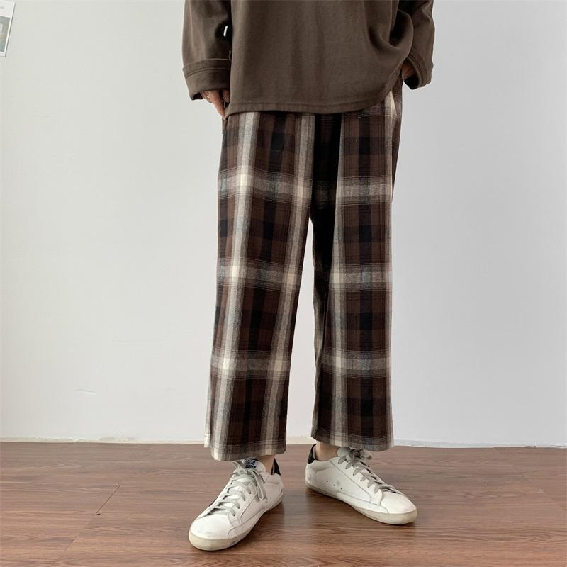 itGirl Shop HUGE PLAID VINTAGE ELASTIC WAIST OVERSIZED PANTS