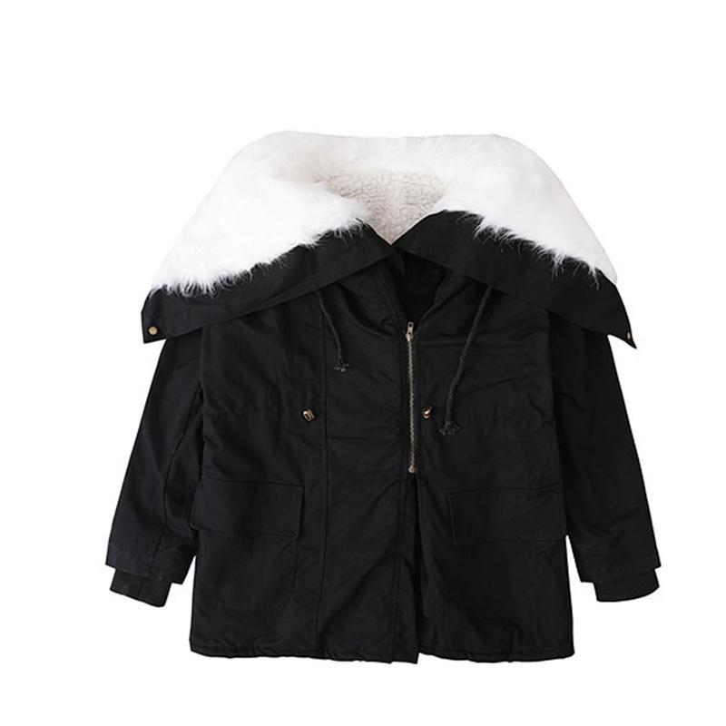itGirl Shop HUGE WHITE FAUX FUR HOOD BLACK LOOSE COAT