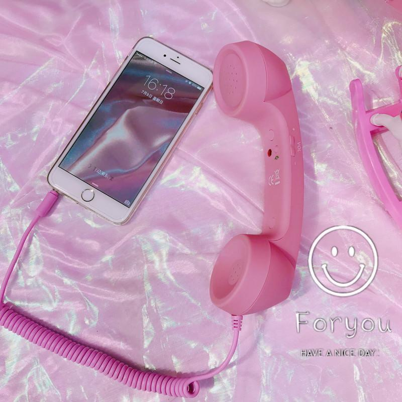 itGirl Shop IPHONE PORTABLE PINK RETRO HUGE PLASTIC PHONE Aesthetic Apparel, Tumblr Clothes, Soft Grunge, Pastel goth, Harajuku fashion. Korean and Japan Style looks