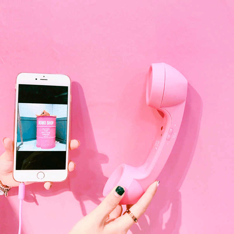 itGirl Shop IPHONE PORTABLE PINK RETRO HUGE PLASTIC PHONE