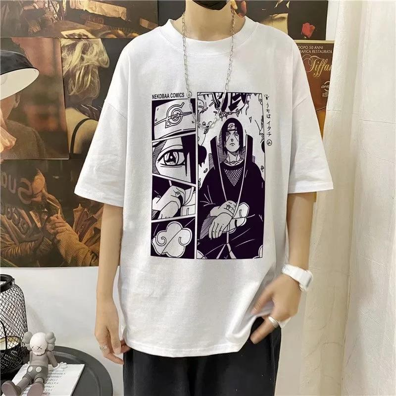 itGirl Shop ITACHI MANGA STRIP PRINT LOOSE WHITE BLACK T-SHIRT