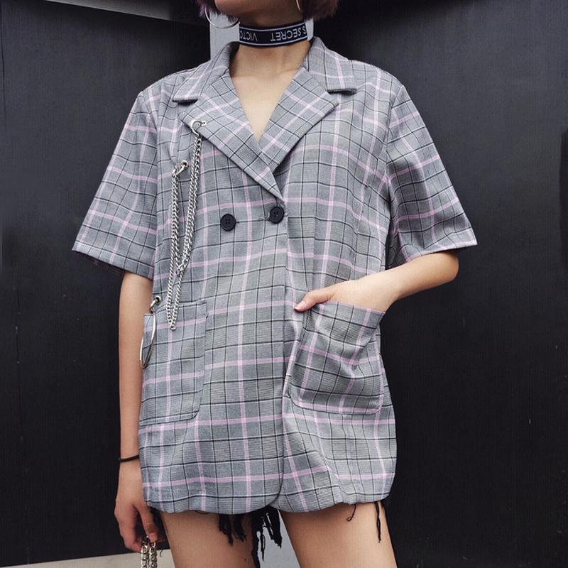 itGirl Shop JACKET STYLE OPEN BACK CASUAL PURPLE PLAID SHIRT