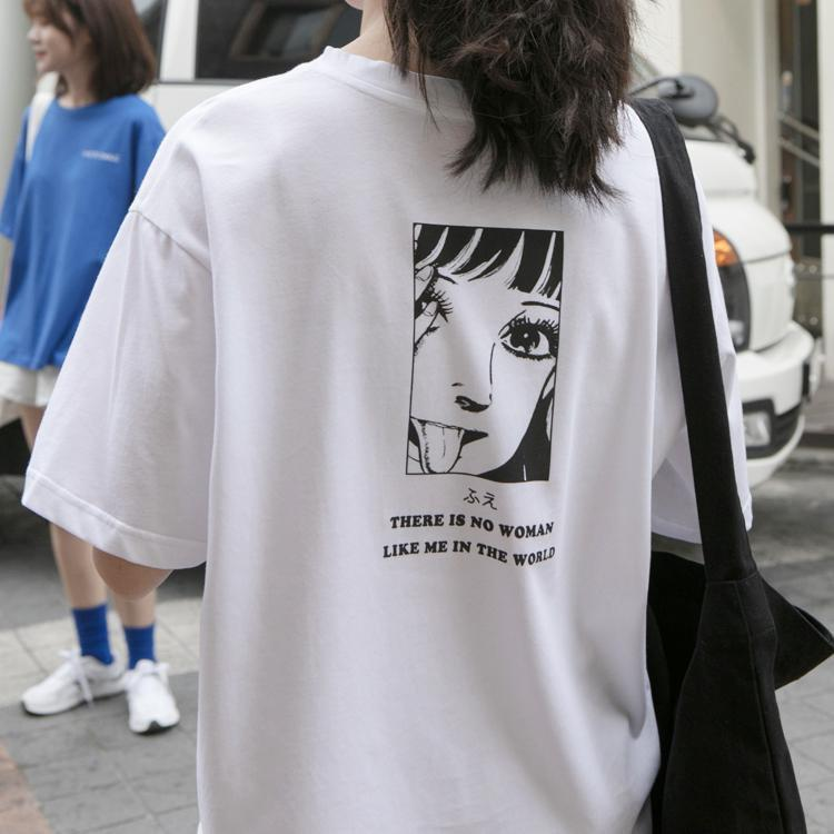 JAPANESE ANIME COMIC LETTER PRINTED OVERSIZED T-SHIRT