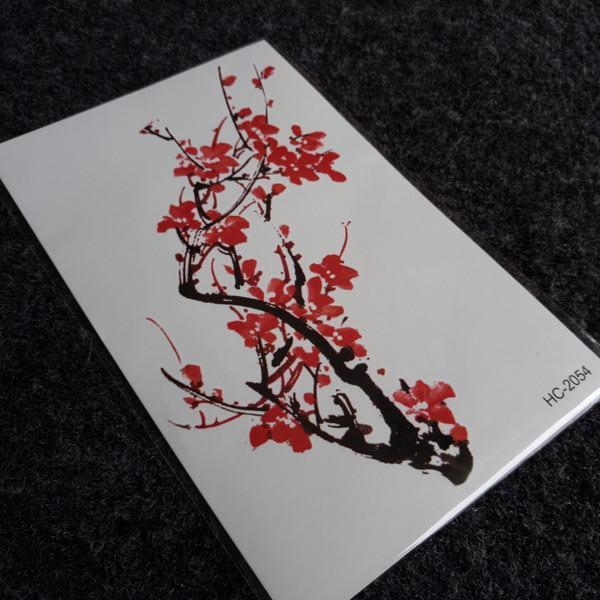 itGirl Shop JAPANESE STYLE BLOSSOM RED FLOWERS BRANCH TEMPORARY TATTOO