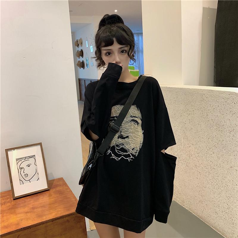 itGirl Shop JOY DIVISION PRINT GRUNGE BLACK WHITE LOOSE SHIRT