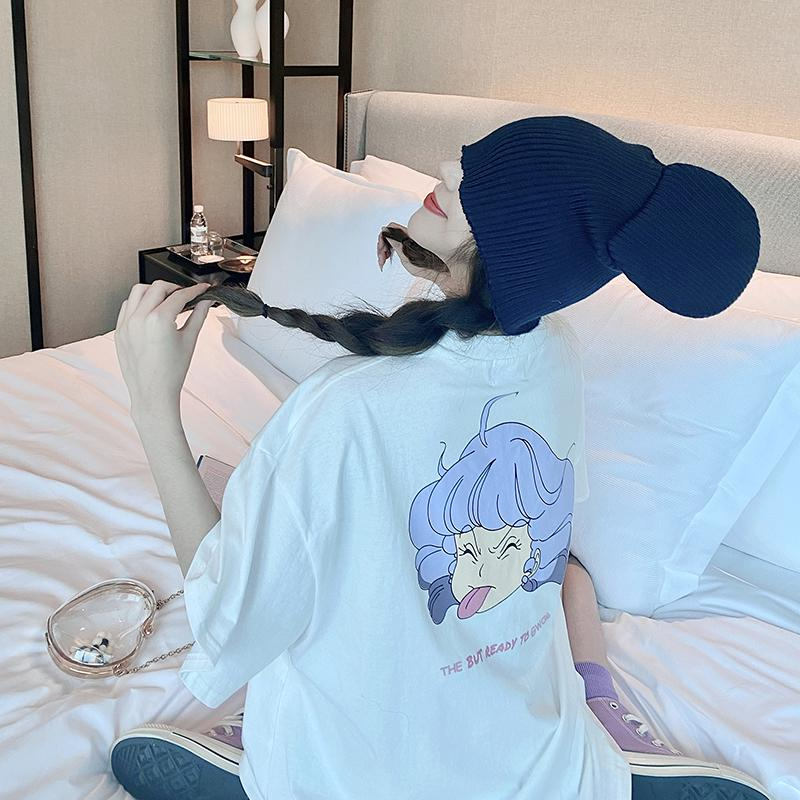 itGirl Shop KAWAII ANIME GIRL BACK PRINT OVERSIZED WHITE T-SHIRT