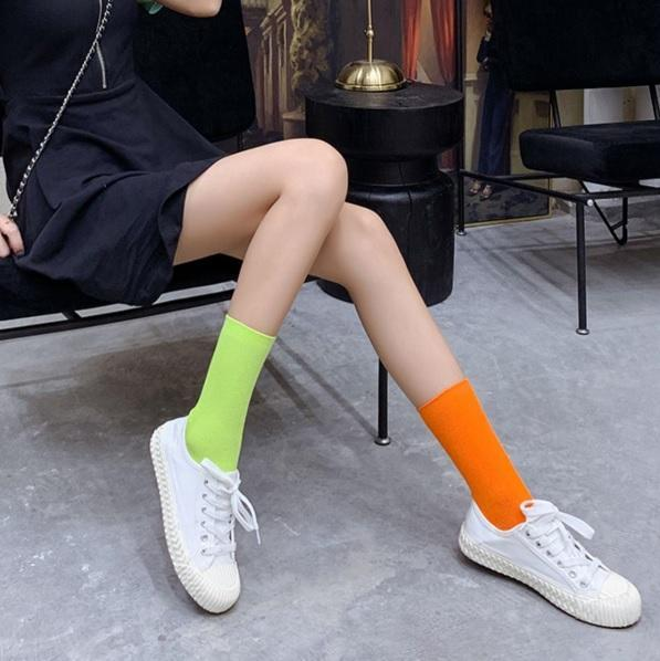 itGirl Shop KAWAII BASIC RIBBED BRIGHT SOLID COLORS SOCKS