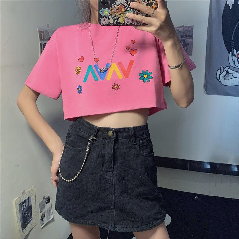 itGirl Shop KAWAII COLORFUL DAISY PRINT AESTHETIC CROP TOP