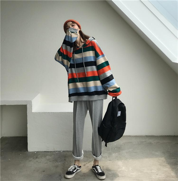 itGirl Shop KAWAII COLORFUL STRIPES HOODIE AND GRAY COMFY PANTS