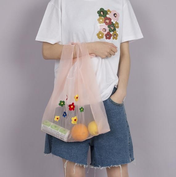 itGirl Shop KAWAII EMBROIDERED FRUITS MESH SHOULDER TOTE BAG