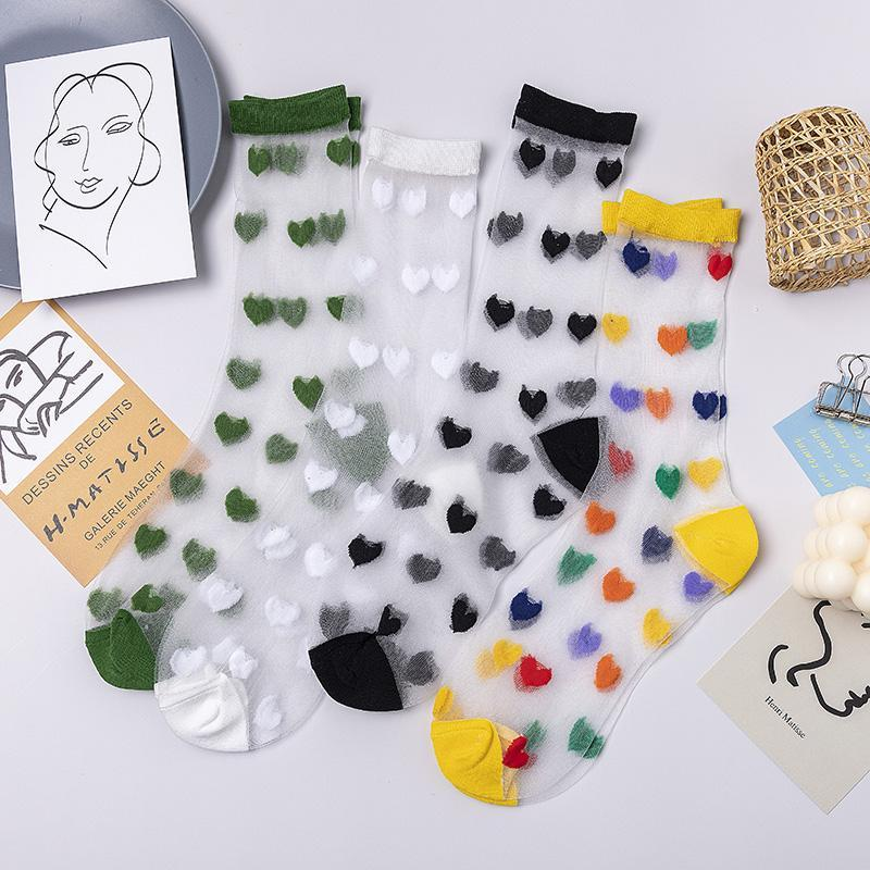 itGirl Shop KAWAII HEARTS COLORFUL TRANSPARENT MESH SOCKS