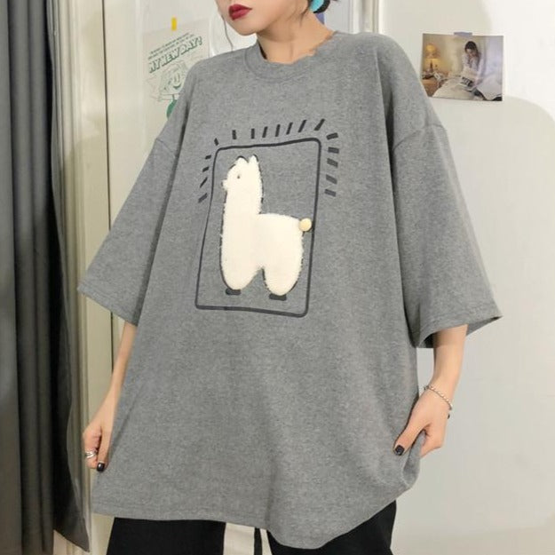 KAWAII PLUSH ALPACA CARTOON LOOSE T-SHIRT