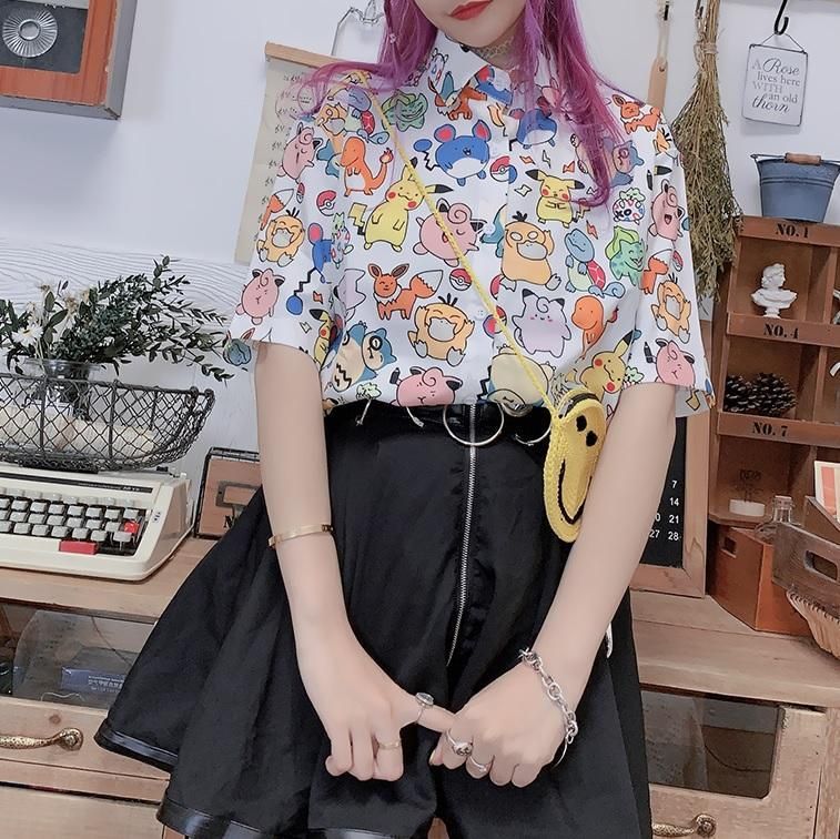 itGirl Shop KAWAII POKEMON PRINT WHITE PINK CHIFFON CASUAL SHIRT