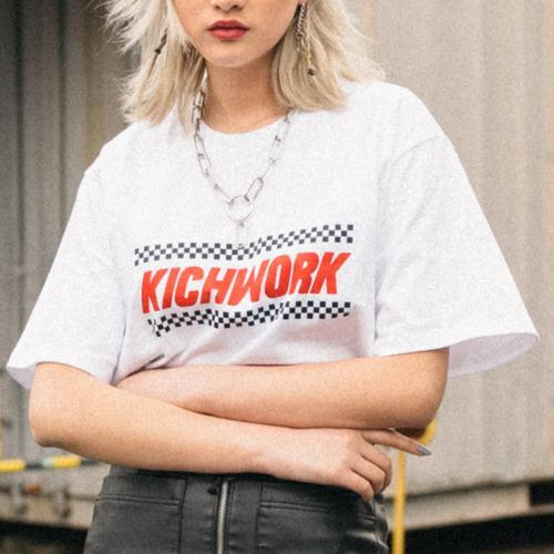 itGirl Shop KICHWORK CHECKERED PRINT LETTERS COTTON OVERSIZED T-SHIRT
