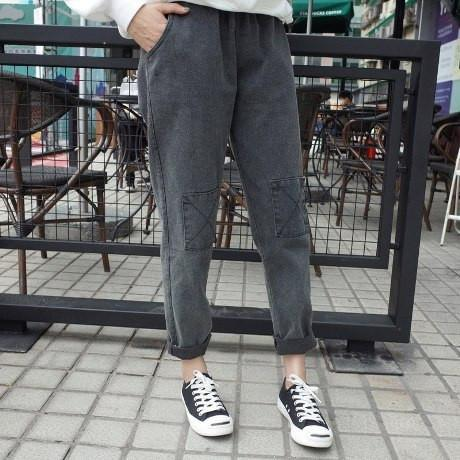 itGirl Shop KNEE PATCHES BLACK LOOSE JEANS PANTS Aesthetic Apparel, Tumblr Clothes, Soft Grunge, Pastel goth, Harajuku fashion. Korean and Japan Style looks