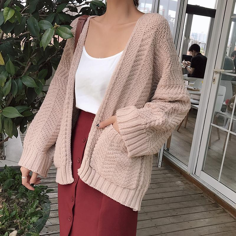 itGirl Shop KNIT BEIGE FRONT POCKETS WARM AUTUMN CARDIGAN