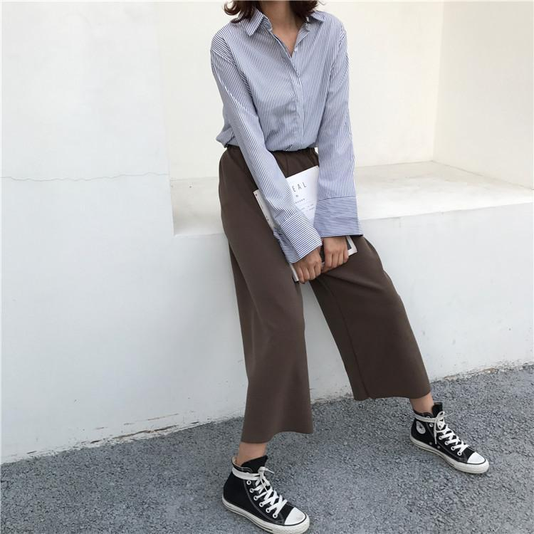 itGirl Shop KNIT FASHION WIDE GRAY BLACK BROWN PANTS
