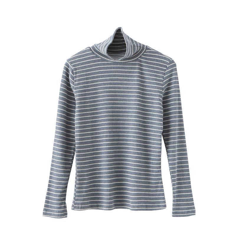 itGirl Shop KNIT LONG SLEEVE STRIPES HIGH NECK SLIM COTTON BLOUSE