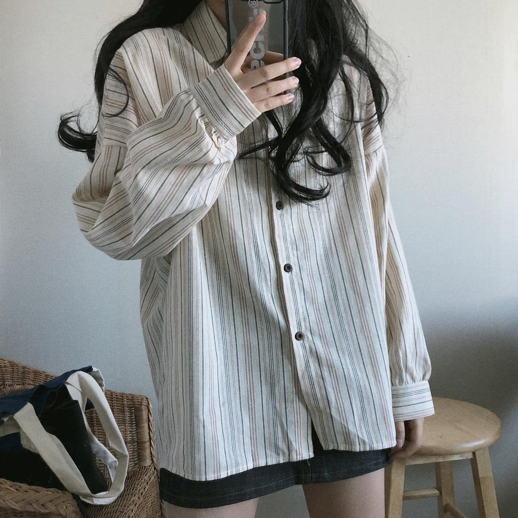 itGirl Shop KNIT LOOSE BEIGE VEST + STRIPED CASUAL VINTAGE SHIRT