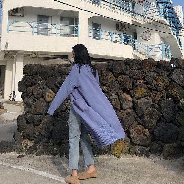 KNIT POCKETS OVERSIZED FRILLED LONG CARDIGAN